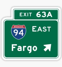 Fargo, Road Sign, North Dakota Sticker