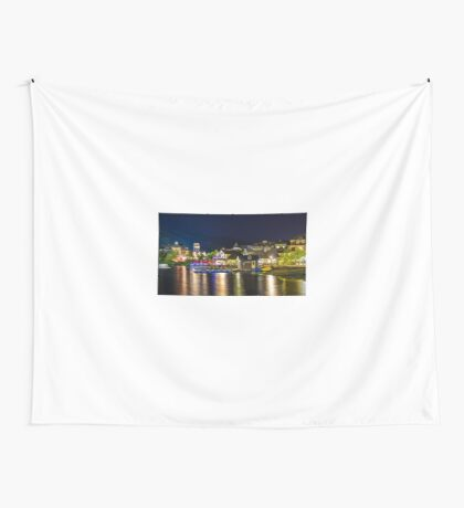 Blue Mountain Village at night Wall Tapestry