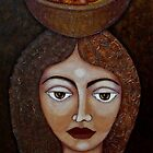 Big-eyed woman with fruits by Madalena Lobao-Tello