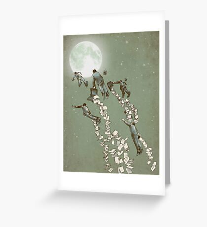 Flight of the Salary Men (color option) Greeting Card