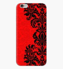 Black & Red Floral Vintage Damasks Design iPhone-Hülle & Cover