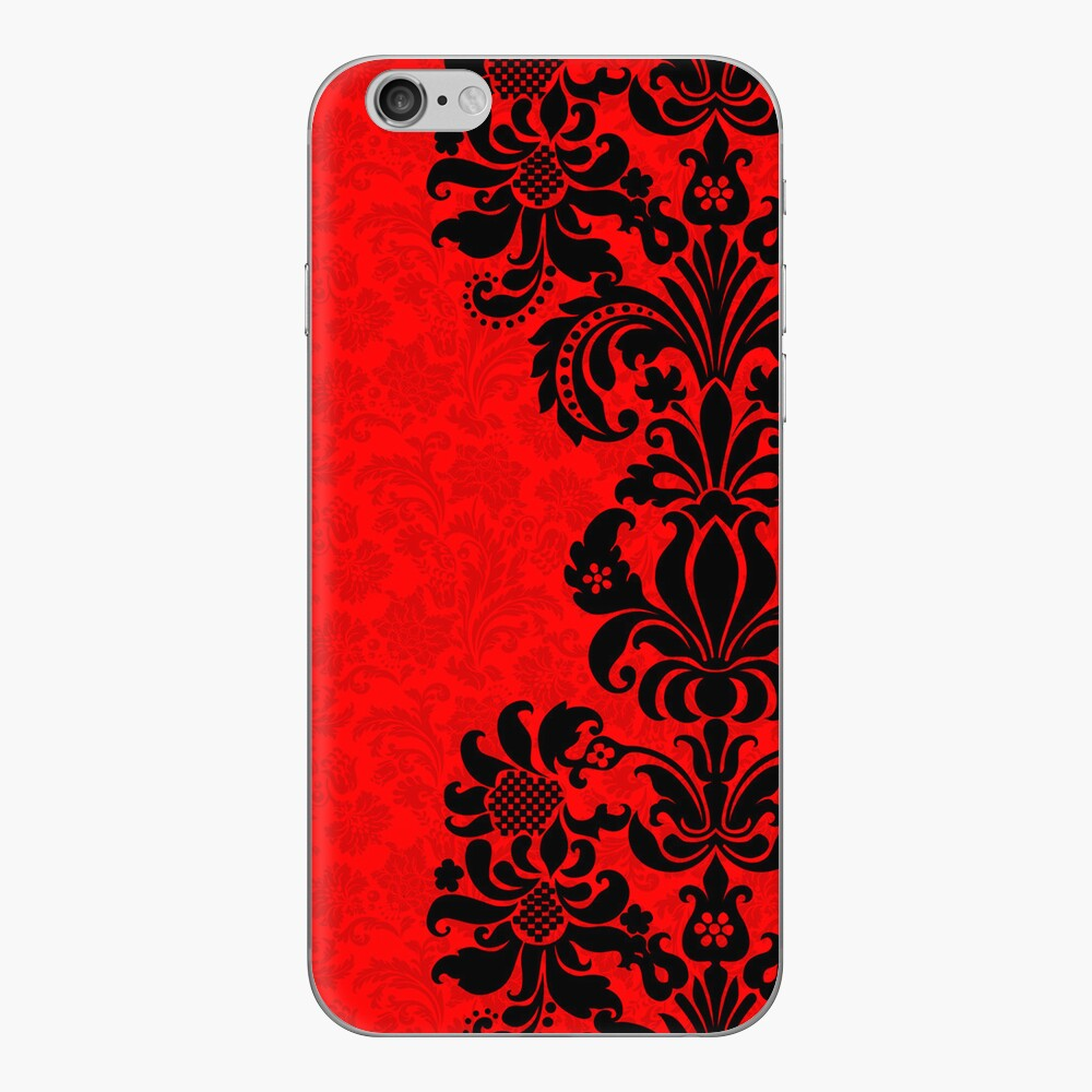 Black & Red Floral Vintage Damasks Design iPhone Klebefolie