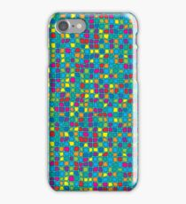 Colorful Stained Glass Look Geometric - Blue Tint iPhone Case/Skin