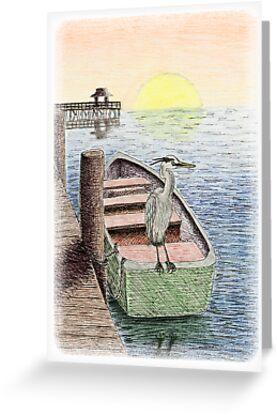 Great Blue Heron on Boat by jkartlife
