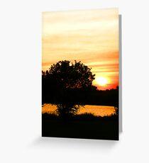 Orange Sunset Landscape Greeting Card