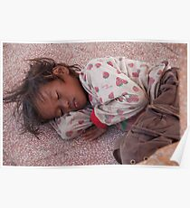 Cambodia. Phnom Pehn. Sleeping homeless child. Poster
