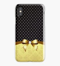 Elegant Black White Polka Golden Ribbon Diamond iPhone Case/Skin