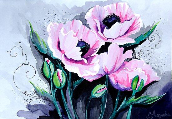 Pink Poppies by Slaveika Aladjova