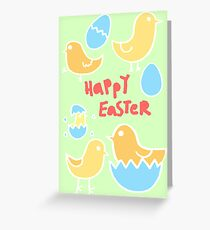 Happy Easter Chicks Greeting Card