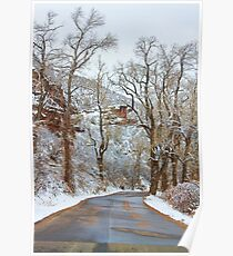 Red Rock Winter Road Portrait Poster