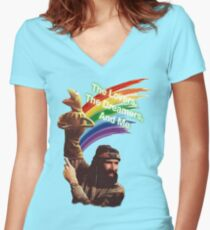 Jim Henson and Kermit Women's Fitted V-Neck T-Shirt
