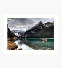 Lake Louise Glacier  canoe and emerald color Art Print