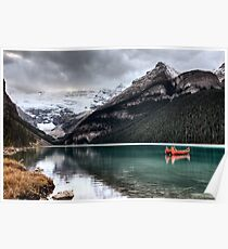 Lake Louise Glacier  canoe and emerald color Poster