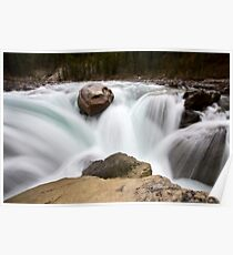 Sunwapta Waterfall Alberta Canada blurred water fall Poster