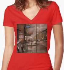 City - Amsterdam NY -  Call 666 for Taxi 1941 Women's Fitted V-Neck T-Shirt