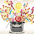 Creativity - typewriter with abstract swirls by schtroumpf2510