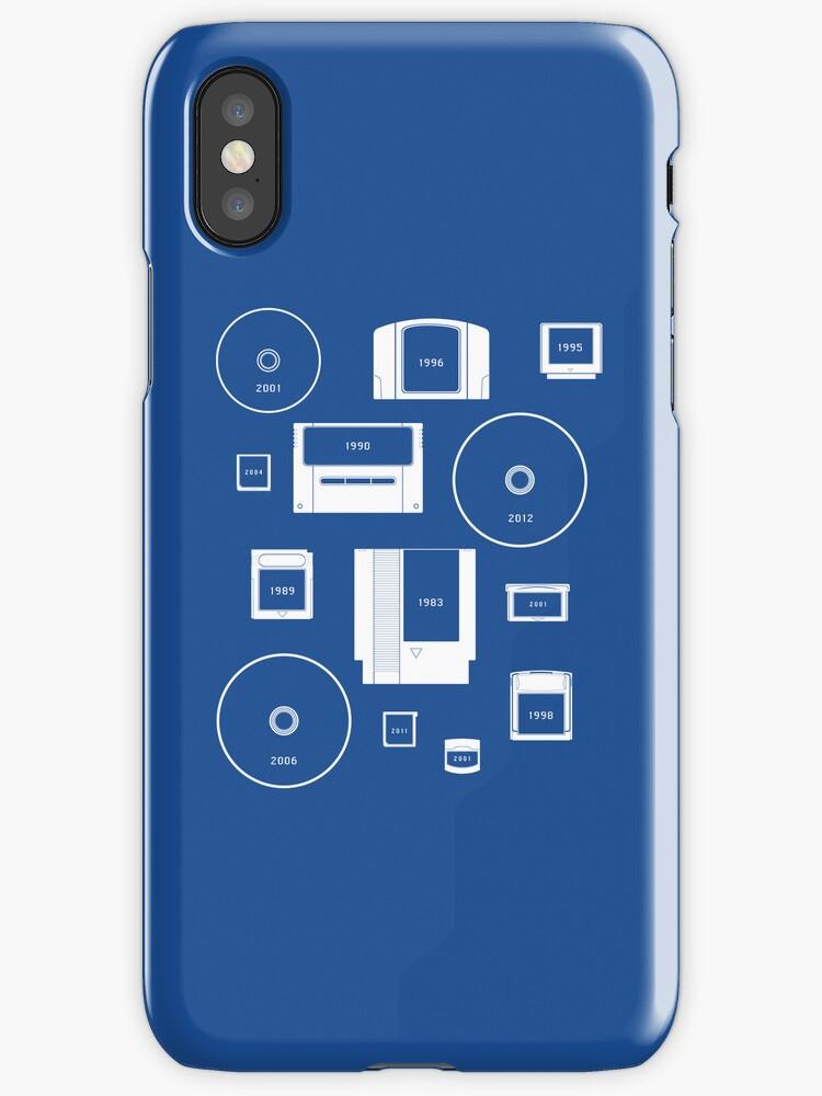 History of Nintendo Media 1989-2012 (iPhone case Blue) by Jarmez