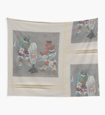 Two mythological Buddhist or Hindu figures one holding a captive and showing him an image in a magic mirror of a man falling off a boat during a fight 001 Wall Tapestry