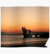 Sunset with Birds, Blackrock, Galway Poster
