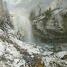 Websters Falls in winter. Oil. Canvas. by Guennadi Kalinine