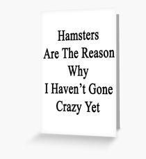 Hamsters Are The Reason Why I Haven't Gone Crazy Yet Greeting Card