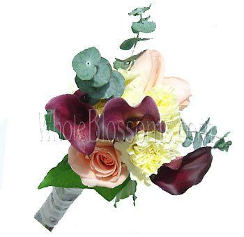 Peach Purple Nosegay Rose Mini Calla Bridesmaids Bouquets by wholeblossoms