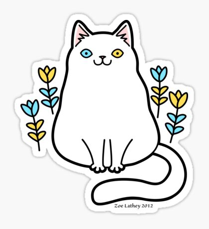 White Odd Eyed Cat with Flowers Sticker