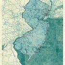 New Jersey Map Blue Vintage by HubertRoguski