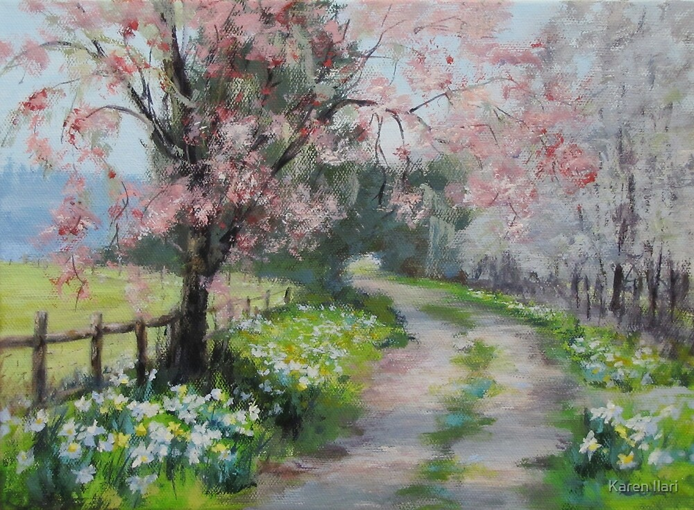 original acrylic landscape painting spring walk by