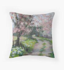 Original Acrylic Landscape Painting - Spring Walk Throw Pillow