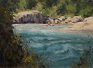 Original acrylic landscape painting - Shady River by Karen Ilari