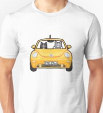 Cats in a Yellow Bug Unisex T-Shirt