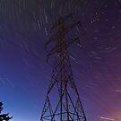 Power line and star trails by Gabor Pozsgai