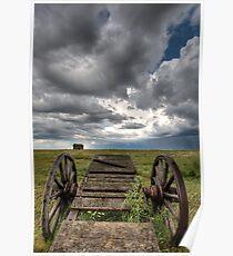 Old Prairie Wheel Cart Saskatchewan Canada field Poster