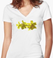 Backlit Yellow Orchids Women's Fitted V-Neck T-Shirt