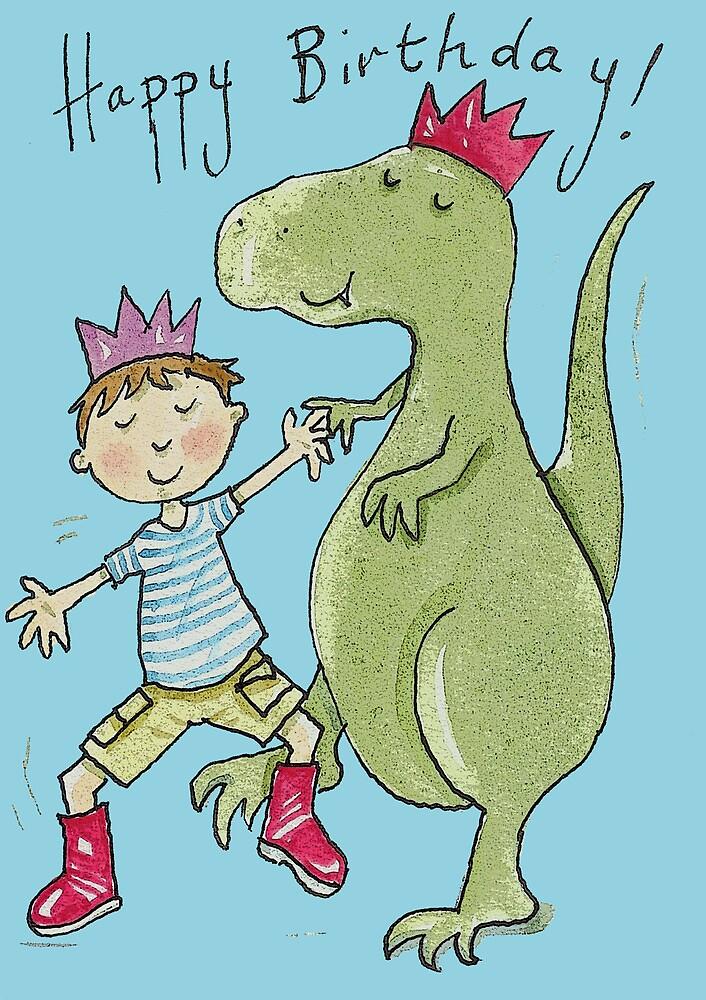 Birthday Boy and Dinosaur Dancing  by AndyLanhamArt