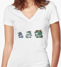 Totodile evolution  Women's Fitted V-Neck T-Shirt