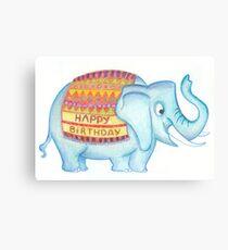 Birthday elephant Canvas Print