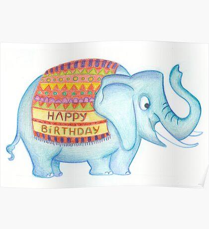 Birthday elephant Poster