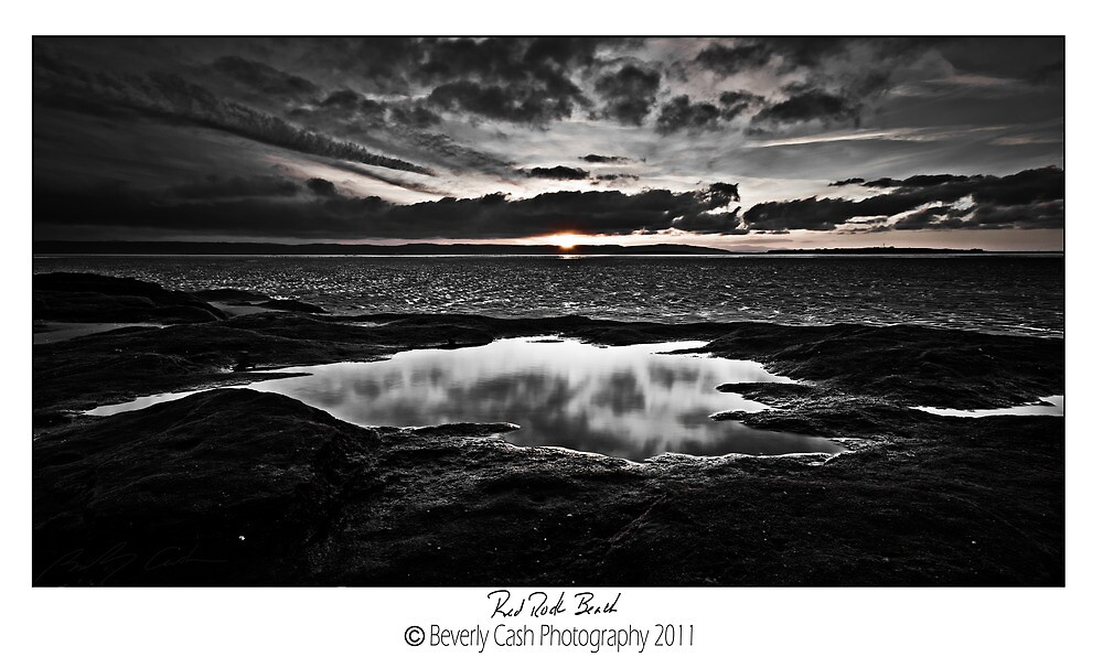 Red Rock Beach monochrome by Beverly Cash