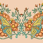 Spring Butterflies Roses and Vines by JanDeA