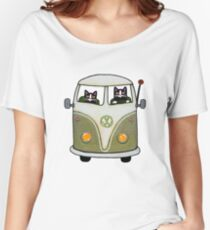 Two Cats in a Green Bus Women's Relaxed Fit T-Shirt