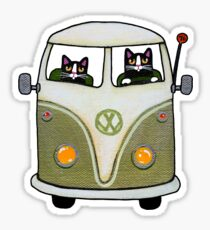 Two Cats in a Green Bus Sticker