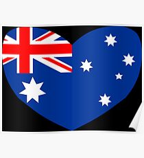 Heart Shaped Australian Flag Poster