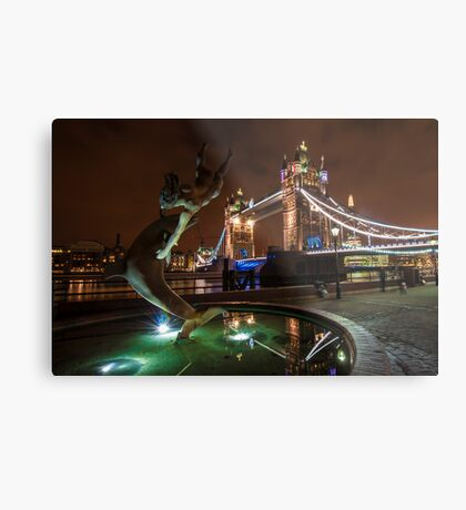 Dolphin and Lady Fountain Tower Bridge, London. Metal Print