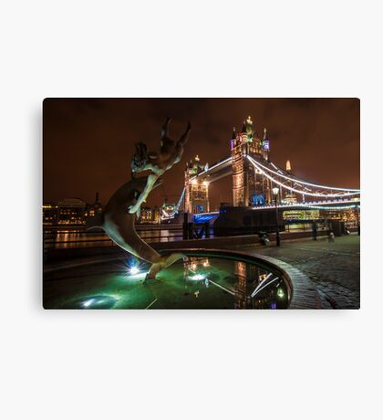Dolphin and Lady Fountain Tower Bridge, London. Canvas Print