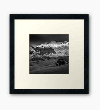 Winter sunrise, The Langdale Valley, Lake District. Framed Print
