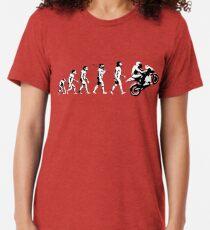 MOTORCYCLE EVOLUTION BIKE WHEELIE Tri-blend T-Shirt