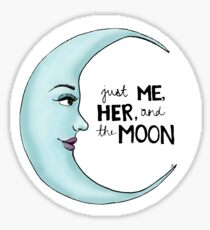 me, her, and the moon Sticker
