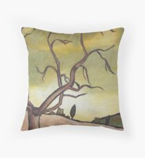 Tree Against a Yellow Sky Throw Pillow